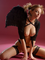 dark angel linda introduces herself to us as she reveals her puffy nipples and soft round ass in this indoor shoot.