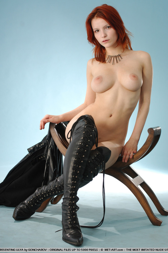 Very hot redhead mistress in leather whipping tied up slave 5