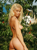 georgeous blonde amoung the trees.